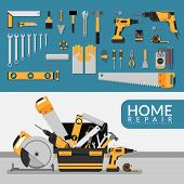 Home Repair Service Template With Set Of Diy Home Repair Working Tools. Home Repair Service Consulti poster
