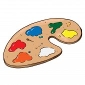 Palette With Paints Hand Drawn. Vector Illustration Palette With Paints. Palette Of Paints Icon. poster