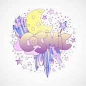 Cosmic Girl And Princess Objects, Space Cartoon Concept With Moon, Crystals, Gem, Stars And Magic Wa poster