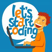 A Vector Image With A Boy Coding And A Lettering Play Learn Code. A Children Coding Theme Text With  poster