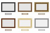 Frames For Photo Or Picture. Vector Wooden Frame Set. Picture Frame Vector On Wall. Vintage Set poster
