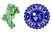 Vector Collage Of Wine Map Of Silesia Province And Best Grape Wine Grunge Seal Stamp. Map Of Silesia poster