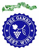 Vector Collage Of Wine Map Of The Gambia And Best Grape Wine Grunge Watermark. Map Of The Gambia Col poster