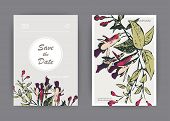 Botanical Wedding Invitation Card Template Design, Hand Drawn Fuchsia Pink Flowers And Leaves, Paste poster