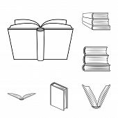 Isolated Object Of Library And Textbook Logo. Set Of Library And School Vector Icon For Stock. poster