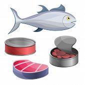 Tuna Icon Set. Cartoon Set Of Tuna Icons For Web Design poster