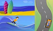 Surfing Banner Set. Cartoon Illustration Of Surfing Banner Set For Web Design poster