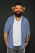 Stay Positive. Man Brutal Bearded Hipster Wear Funny Eyeglasses Accessory. Human Strengths And Virtu poster