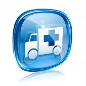 stock photo of ambulance car  - First aid icon blue glass isolated on white background - JPG
