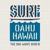 Surfing Artwork. Surfing Hawaii T-shirt Design. Vintage Graphic Tee. Vectors poster