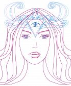 Woman With Third Eye, Psychic Supernatural Senses , Doodle Illustration poster
