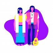 Colorful Flat Characters,subculture Music Genre Apparel Style Concept.flat People,man And Women In H poster