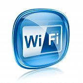 Wi-fi Icon Blue Glass, Isolated On White Background