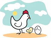 stock photo of baby chick  - A vector drawing of a mother chicken and her baby chick looking at an egg that - JPG