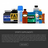 Sports Nutrition Supplement Poster. Fitness. Protein Shakers Energy Drinks. Vector Illustration Heal poster