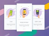 Onboarding Screens User Interface Kit For Mobile App Templates Concept Of  Payment Methods. Cash, In poster