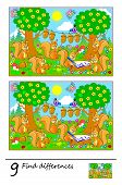 Logic Puzzle Game For Children And Adults. Need To Find 9 Differences. Developing Skills For Countin poster