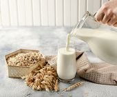 The Concept Of A Vegetarian Diet. Oat Milk In The Glass With Jug Of Oat Milk And Oat And Oat Ears. L poster