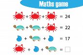 Maths Game With Pictures Ocean Animals For Children, Middle Level, Education Game For Kids, Preschoo poster