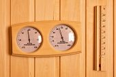 Sauna Thermometer And Hygrometer On Wooden Wall. Temperature In Celsius poster