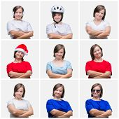 Collage of young woman with down syndrome over isolated background happy face smiling with crossed a poster