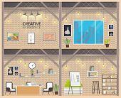 Two Floor Coworking Business Workspace Banner. Modern Empty Freelance Working Center Indoor Interior poster