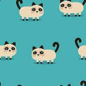 Pattern With Grumpy Cartoon Cat, Wallpaper With Angry Animal On Blue, Background With Sad Pet poster