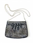 image of sling bag  - Classic black handbag with a silver chain strap on a white studio background - JPG