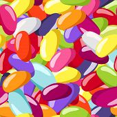 foto of jelly beans  - Vector illustration of seamless pattern with jelly beans of various colors - JPG