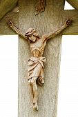 stock photo of inri  - Old wooden Crucifix with figure of Jesus - JPG