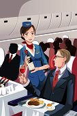 stock photo of cabin crew  - A vector illustration of a flight attendant serving a passenger in an airplane - JPG