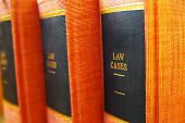 stock photo of book-shelf  - closeup of three law books on shelf