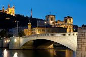 image of bonaparte  - Classical view of Lyon over the Saone river at night - JPG
