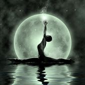 stock photo of moonlight  - Magic Yoga  - JPG