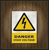 foto of slip hazard  - blackboard sign danger high voltage wood template - JPG