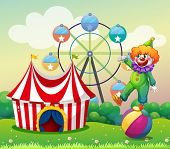 pic of carnival ride  - Illustration of a clown standing above the ball at the carnival - JPG