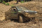 Recovering The Vehicle From The Muddy Terrain