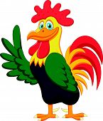 Cute rooster cartoon waving