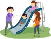 stock photo of stickman  - Illustration of Stickman Family in a Playground with Kids Playing in Slide - JPG