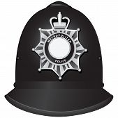 stock photo of bobbies  - A traditional authentic helmet of metropolitan British police officers - JPG