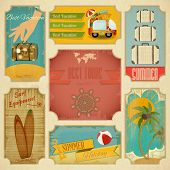 stock photo of old suitcase  - Set of Retro Summer Vacation Labels in Vintage Style - JPG