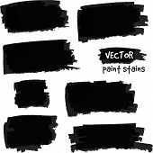 Black paint spots vector set