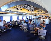 PORTOFERRAIO, ITALY - JUNE 30:Unidentified passengers on ship Corsica Express Seconda. Luxury ship w