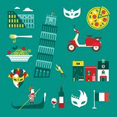 stock photo of gondola  - Vector set of stylized italy icons - JPG