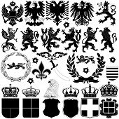 stock photo of falcons  - Vector of heraldry design elements on white background - JPG
