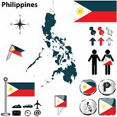 stock photo of pesos  - Vector of Philippines set with detailed country shape with region borders flags and icons - JPG
