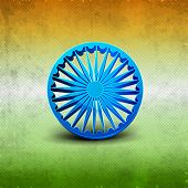 picture of indian independence day  - 3D Ashoka wheel on Indian tricolors background for Independence Day and Republic Day - JPG