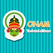 pic of onam festival  - South Indian festival Onam wishes background with Kathakali dancer - JPG