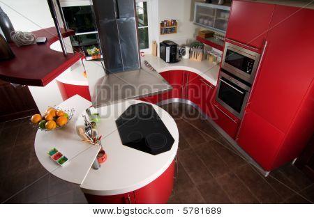 Постер, плакат: Красный современная кухня, холст на подрамнике