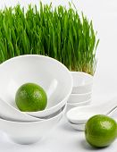 Healthy Food - Lime And Germinated Wheat Seeds